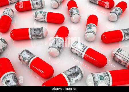 Teure Medizin, Konzept-Darstellung der steigenden Kosten im Gesundheitswesen - Stockfoto