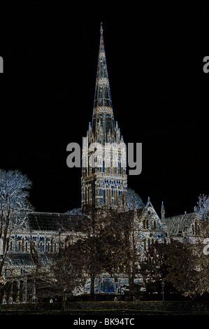 Fine Art Graphic Image der Kathedrale von Salisbury, Salisbury, Wiltshire, England, GB, UK. - Stockfoto