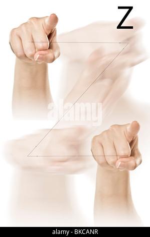 Weibliche Hände Rechtschreibung der ASL Fingeralphabet - Stockfoto