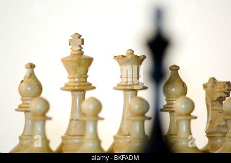 Schach, schwarzen König vor weißen Figuren auf dem Schachbrett - Stockfoto