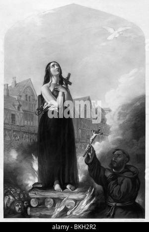 Vintage print ca. 1851 abbildenden Joan of Arc am 30 Mai 1431 auf dem Scheiterhaufen verbrannt. - Stockfoto