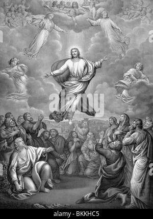 Vintage Lithographie Druck ca. 1884 Darstellung der Himmelfahrt Christi in den Himmel nach seiner Auferstehung. - Stockfoto