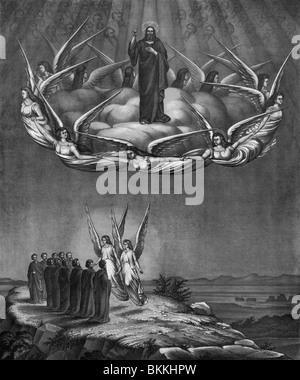 Vintage Lithographie Druck ca. 1873 Darstellung der Himmelfahrt Christi in den Himmel nach seiner Auferstehung. - Stockfoto