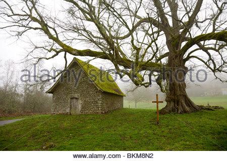 Die Kapelle von St.-Jean Mas an einem nebligen Frühlingsmorgen, Saint-Sulpice-le-Dunois, La Creuse, Limousin, Frankreich - Stockfoto