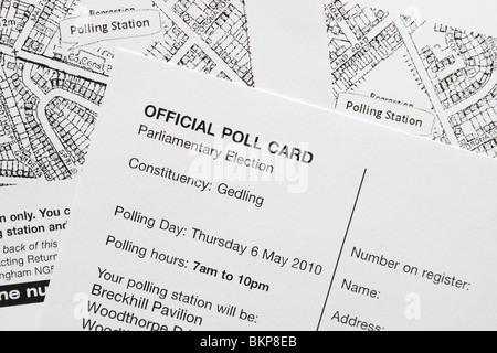 Eine Umfrage-Karte für den Wahlkreis Gedling für die Parlamentswahlen 2010 in Großbritannien. - Stockfoto