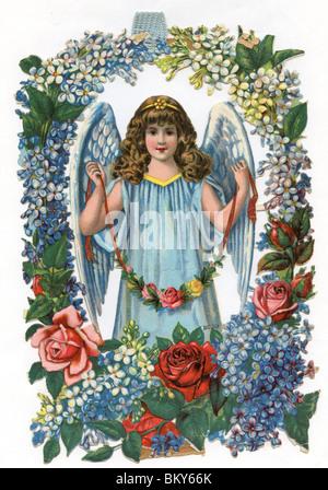 Engel gekleidet in blau mit einem floralen Rahmen - Stockfoto