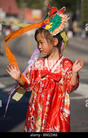 Golden Dragon Parade, Chinese New Year Festival, Chinatown, Los Angeles, Kalifornien, USA - Stockfoto