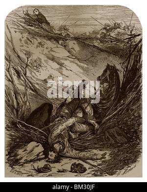 Während der Belagerung von Paris durch die Wikinger von 885, 886 fiel Duke Heinrichs Pferd in eine Grube gegraben - Stockfoto