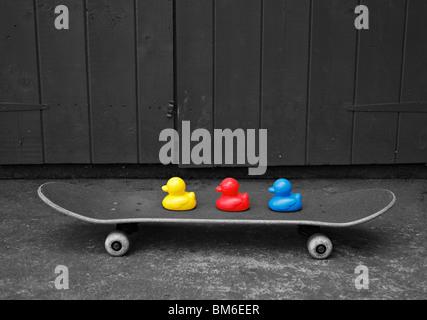 Spielzeug-Enten auf einem Skateboard. - Stockfoto