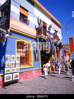Pastellfarbenen Gebäude, Straße Caminito, La Boca, Buenos Aires, Argentinien - Stockfoto