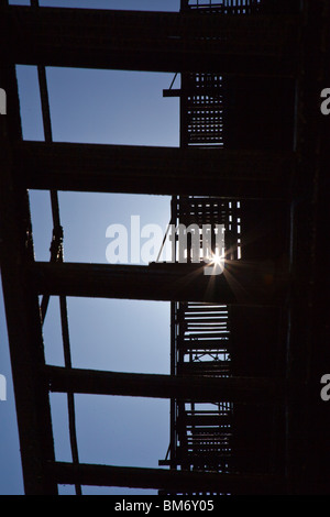 Feuerleiter in Cortlandt Gasse, Tribeca, New York City - Stockfoto