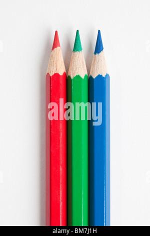 Detail der drei Stifte in RGB-Farben - Stockfoto