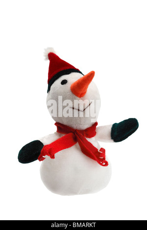 Schneemann gefüllt weiß mit roter Mütze und Schal pelzige Spielzeug auf weißem Hintergrund Weihnachtsbaum festliche - Stockfoto