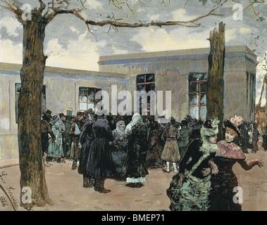 PASTEUR, Louis (1822-1895), französischer Chemiker und Bakteriologe. Außerhalb des Labors von Paris mit dem Kranken - Stockfoto