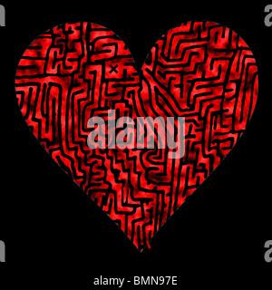 Labyrinth-Herz mit Start und Ziel - Stockfoto