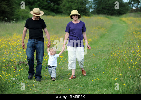 Großeltern zu Fuß durch den Bereich der Hahnenfuß mit Enkelkind uk - Stockfoto