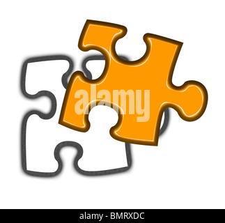 Illustration der letzte Stück des Puzzlespiels fallen an ihren Platz, weißen Hintergrund. - Stockfoto