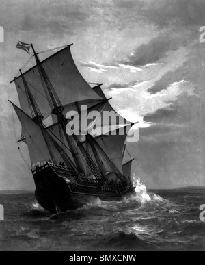 Das Mayflower nahenden land - Stockfoto