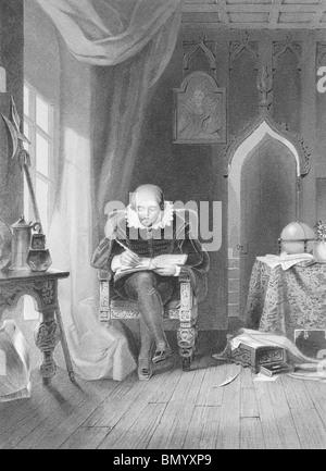 William Shakespeare (1564-1616) auf Gravur aus den 1800er Jahren. Englischer Dichter und Dramatiker. - Stockfoto