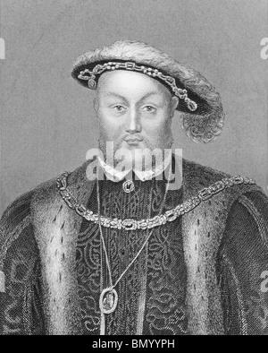 Henry VIII (1491-1547) auf Gravur aus den 1800er Jahren. König von England während 1509-1547. - Stockfoto