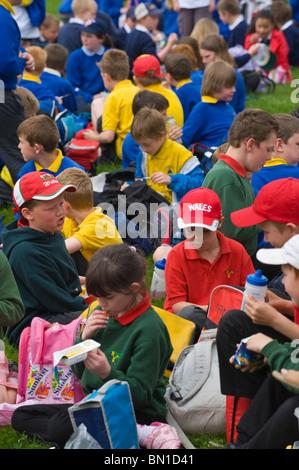 Schulen beim Mittagessen auf dem Rasen bei Hay Festival Grundschulen Day bei Hay Festival 2010 Powys Wales UK - Stockfoto