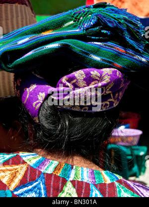 Traditionellen indigenen Maya-Kopfbedeckungen Panajachel, Guatemala - Stockfoto