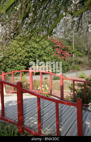 Frühling Blick Auf Ein Japanisches Rot Holzbrücke Am Chester Zoo Steingarten .