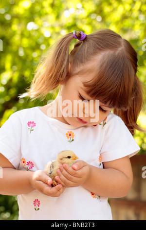 Kleine Mädchen und Küken - Stockfoto