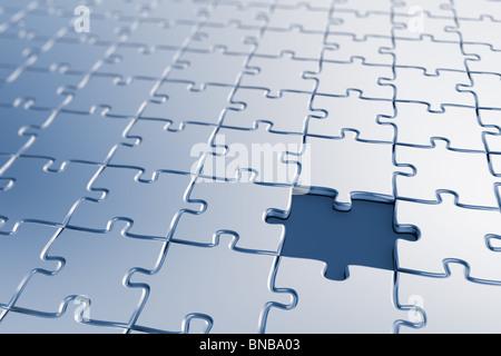 Leeres Puzzle mit ein fehlendes Stück - Stockfoto