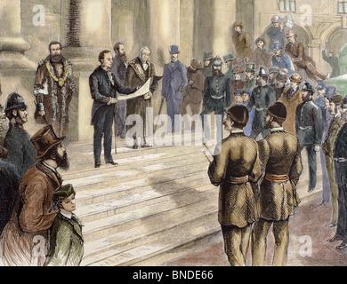Offiziellen Verkündung von Königin Victoria (1819-1901) als Kaiserin von Indien in den Schritten von der Börse. - Stockfoto