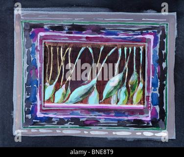 Gemusterte Blätter, John Bunker (20. C. amerikanisch), Aquarell, Feder und Tinte, Privatsammlung - Stockfoto