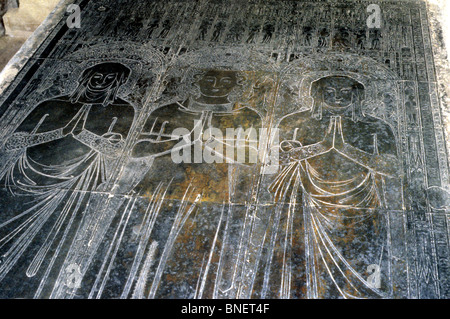 Kings Lynn St. Margaret's Chuch, Messing, Robert Braunche und 2 Frauen, 1364 englische flämischen monumental Brasses - Stockfoto