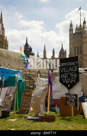 Demokratie-Dorf, Friedenslager, Parliament Square, London - Stockfoto