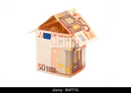 Ein Haus aus Euro-Scheine - Stockfoto
