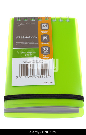 Green T A7 Polypropylen Spiralbindung 80 Blatt notebook - Stockfoto