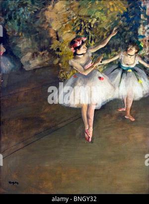 Zwei Tänzerinnen auf der Bühne, von Edgar Degas, 1874, England, London, Courtauld Institute und Galerien, 1834-1917
