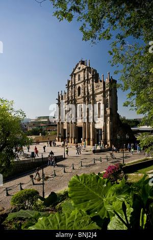 China Asien Macao Macau Stadt Ruinen Kirche St.Paul UNESCO Welt Kulturerbe Fassade tourist - Stockfoto