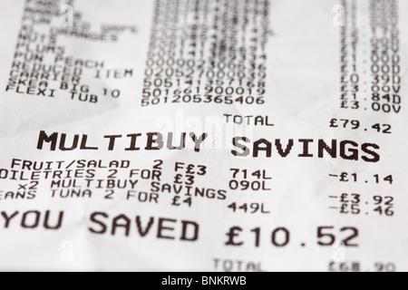 Supermarkt bis Quittung multibuy Einsparungen - Stockfoto