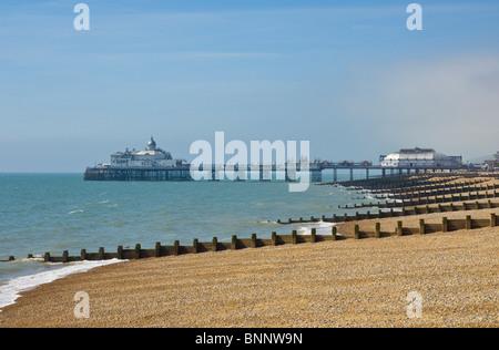 Pebble Beach und Buhnen, Eastbourne Pier in der Ferne, Eastbourne, East Sussex, England, GB, UK, EU, Europa - Stockfoto