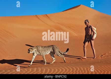 San-Jäger bewaffnet mit traditionellen Bogen und Pfeil mit Gepard - Stockfoto