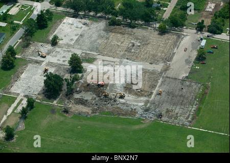Luftaufnahme über geräumte Grundlagen der zerstörten Häuser nach Hurrikan Katrina unteren neunten Bezirk New Orleans - Stockfoto