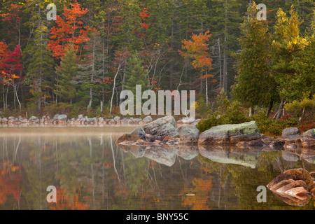 Ufer des Jordan Pond im Herbst, Acadia National Park, Maine, USA - Stockfoto