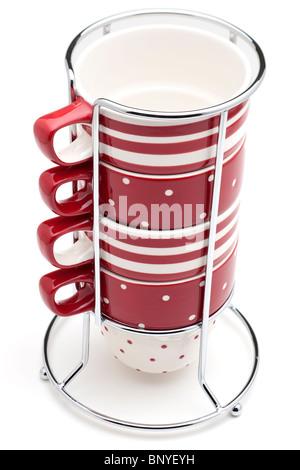 Rot und weiß gestreift und entdeckt 4 Tasse Metall gerahmten Becher stapeln - Stockfoto