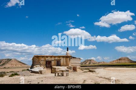 Spanien, Navarra, Hirten-Hütte in Wüste Bardenas Reales - Stockfoto