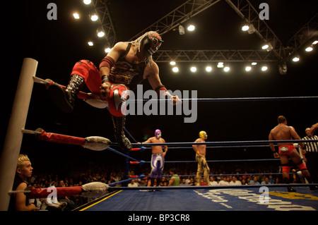 Maskierte Wrestler kämpfen bei einer Lucha Libre Wrestling Show in Arena Mexiko in Mexiko-Stadt, 16. Juli 2008. - Stockfoto