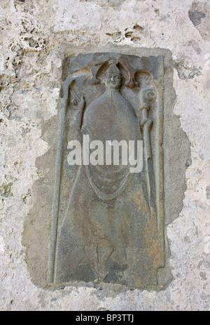 Mittelalterliche Steinbildhauen Corcomroe Abbey (Mainistir Chorco Modhruadh) eine frühe 13. Jahrhundert Zisterzienserkloster, - Stockfoto