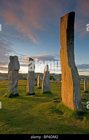 Die äußeren Hebriden berühmten Standing Stones bei Callanish, Lewis. Äußeren Hebriden. Schottland. SCO 6292 - Stockfoto