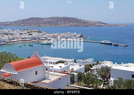 Hafen von Mykonos-Stadt, Insel Mykonos, Cyclades, Ägäische Inseln, Griechenland - Stockfoto