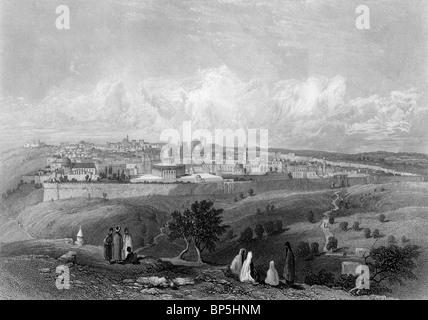 Von Jerusalem betrachtet aus Spitze der Ölberg in biblischen Zeiten, - Stockfoto