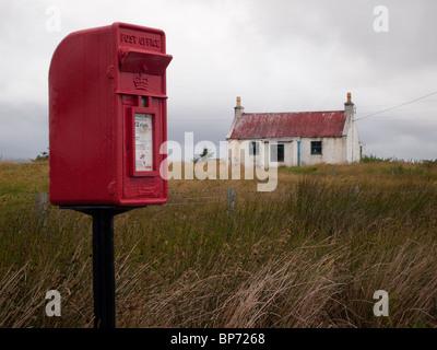 Alten Croft mit Briefkasten, North Uist - Stockfoto